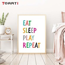 Quotes Wall Art Canvas Painting Picture Eat Sleep Repeat Party Poster Print Gaming Room Decor Modern Living