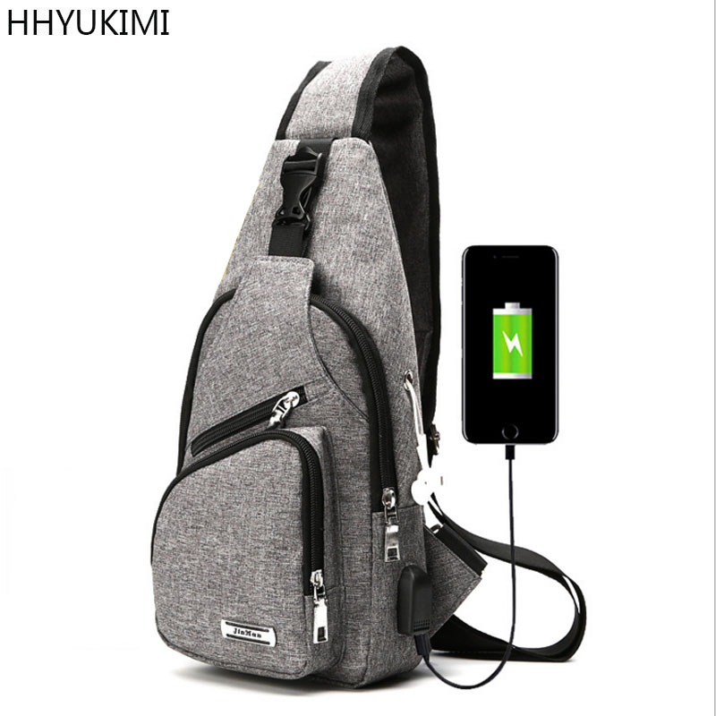 HHYUKIMI Fashion Crossbody Bags for Men Messenger Chest Bag Pack Casual Bag Waterproof Nylon Single Shoulder Strap Pack WITH USB