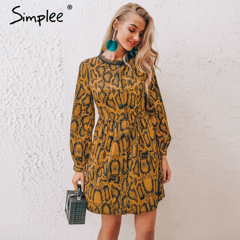 Simplee Snake Print Short Dress S19DR1585