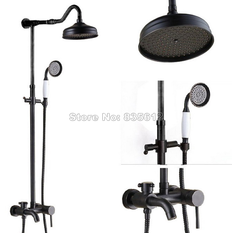 Wall Mount Bathroom Black Oil Rubbed Bronze Rain Shower Faucet with Single Handle Tub Mixer Taps +Ceramic Handheld Shower Wrs624