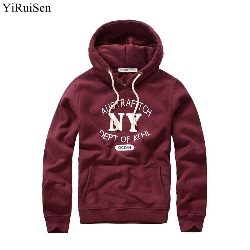 YiRuiSen бренд Флисовые Кофты для мужчин аппликация и вышивка Lether дизайн толстые толстовки теплое зимнее пальто красный темно синий