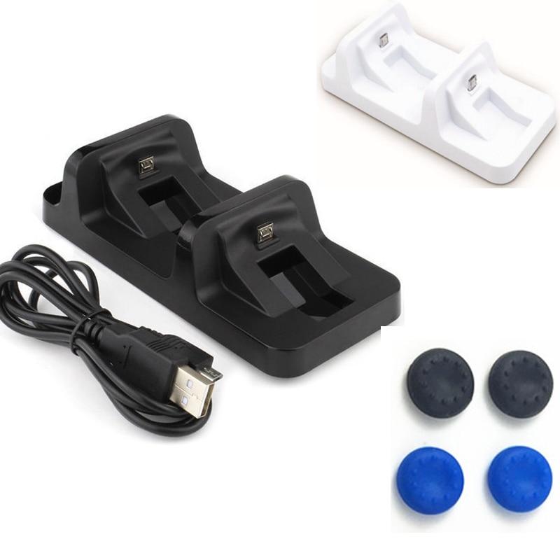 USB Port <font><b>Dual</b></font> Charging Dock Station Stand Holder Support <font><b>Charger</b></font> For Sony Playsation 4 <font><b>PS4</b></font> Slim <font><b>PS4</b></font> Pro Controller+4pcs caps