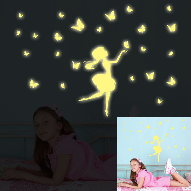 Creative Luminous Dancing Fairy Tale Little Princess With Flying Erfly Children Bedroom Decorative Wall Sticker