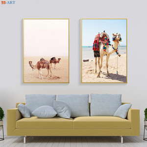Camel Print Desert Landscape Canvas Painting Colour Poster Modern Wall Art Bohemian Decoration Pictures for Living Room Decor(China)
