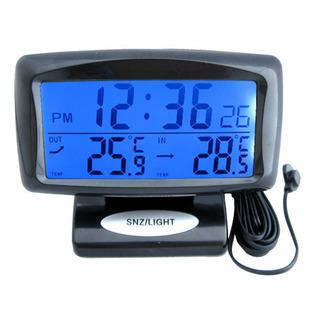 Termômetro do carro Com duplo display eletrônico relógio termômetro retroiluminação LED tela luminosa carga do carro