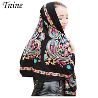 Luxury Scarf Women Winter Scarf Wool Cashmere Shawl Embroidery Women Ethnic Paisley Scarves Cashew Cashmere Scarf