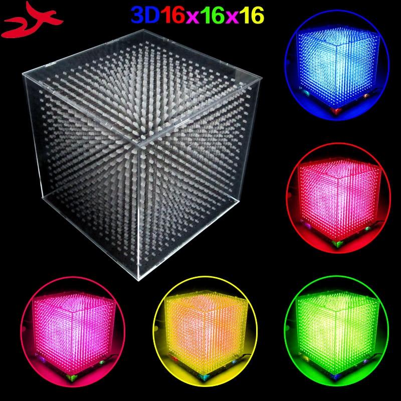 DIY mini 3D 16 LED Light cubeed save Animation to SD Card 16x16x16 3D LED Kits