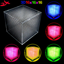 DIY mini 3D 16 LED Mild cubeed save Animation to SD Card / 16x16x16 3D LED /Kits,3D LED Show,Christmas Present