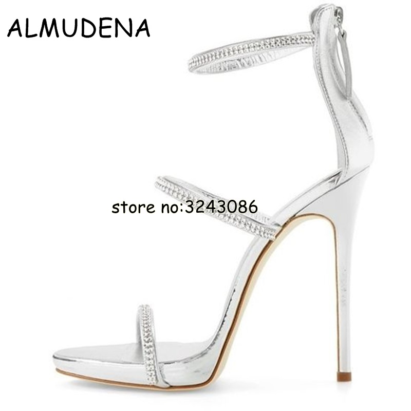 8d2e95fcde86 Sexy gold high heels tringle open toe ankle strap heels sandals beautiful  women pumps stilettos sparkle rhinestone pumps shoes-in High Heels from  Shoes on ...