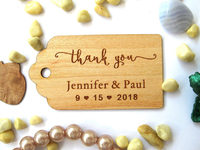 Favour Wedding Thank you Favor bags tags, Wedding Gift tag personalized, Rustic Decor wood Hang Tags