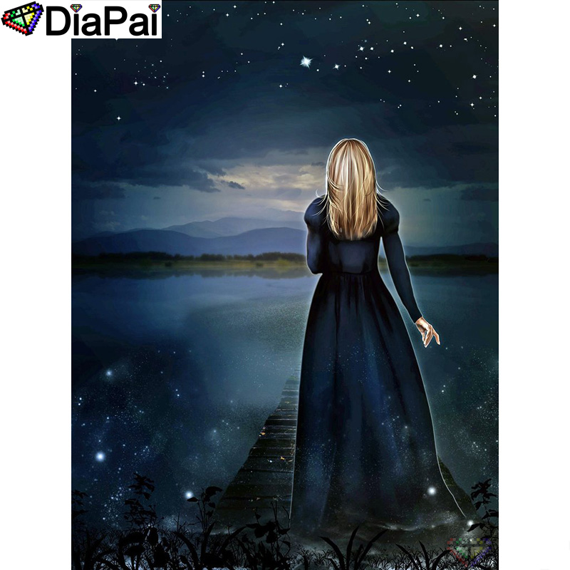 DIAPAI Diamond Painting 5D DIY 100 Full Square Round Drill quot Beauty back quot Diamond Embroidery Cross Stitch 3D Decor A24341 in Diamond Painting Cross Stitch from Home amp Garden