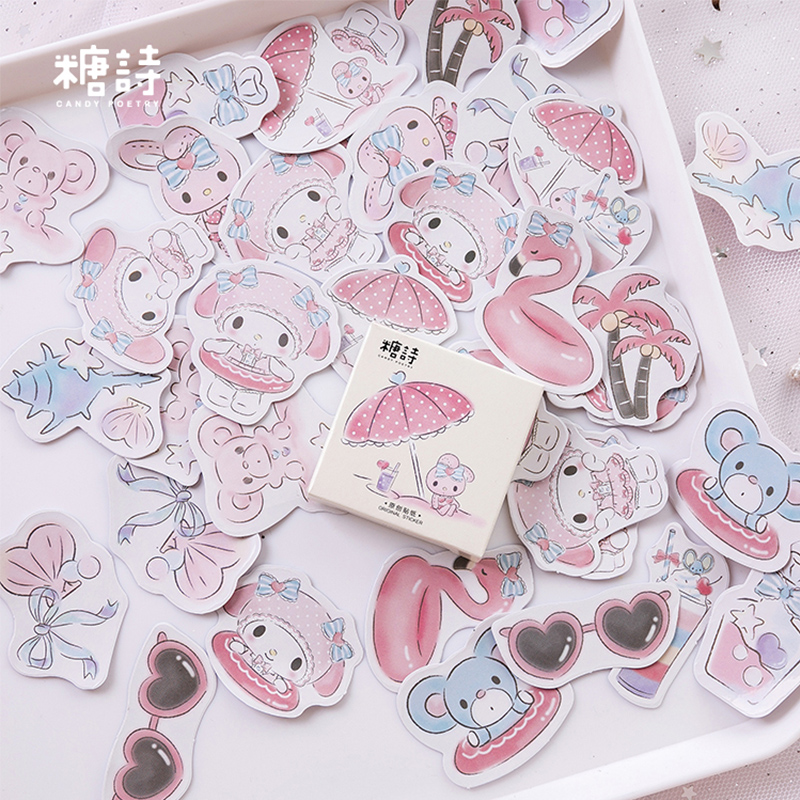45 Pcs/box Seaside Holiday Pink Cartoon Tree Mini Paper Sticker Decoration DIY Diary Scrapbooking Seal Sticker Kawaii Stationery