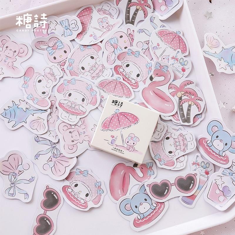 45 Pcs/box Seaside Holiday Pink Cartoon Tree Mini Paper Sticker Decoration DIY Diary Scrapbooking Seal Sticker Kawaii Stationery