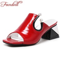 FACNDINLL Shoes Summer Gladiator Sandals For Women New Fashion Genuine Leather High Heels Peep Toe Shoes
