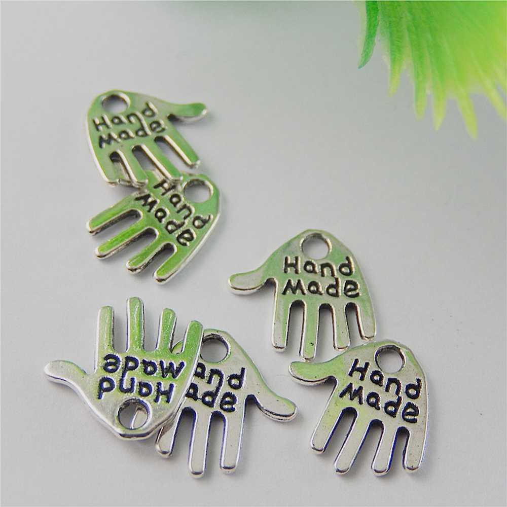 50 pcsTopAntiqued Bạc Hợp Kim Dễ Thương palm thư Quyến Rũ Mặt Dây Đồ Trang Sức mỹ Làm cho bracelet vòng cổ Hamsa Tay 12*11*1 mét