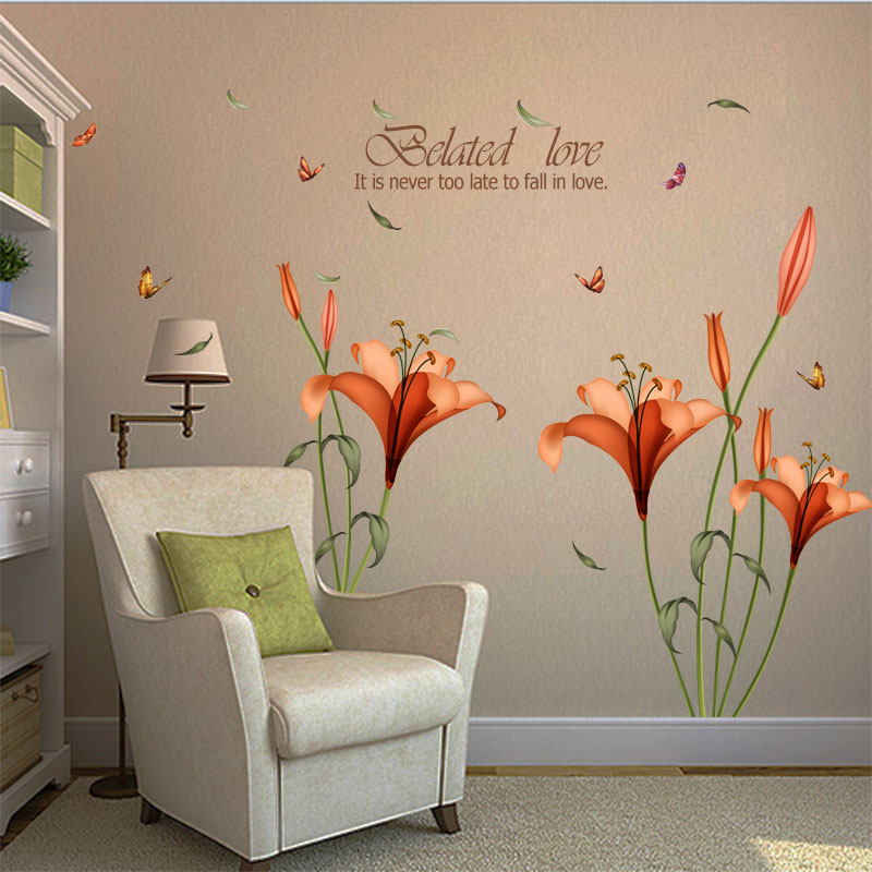 Fundecor Pvc Orange Flowers Butterfly Leaf Wall Stickers For Kids Rooms Living Room Bathroom Kitchen Decor Wall Decals Poster