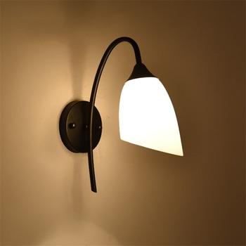 America Modern Wall Lamp Iron Body Glass Lampshade bedroom Light Retro Lamp Home Lighting Wall Light  For Living Room Bedroom