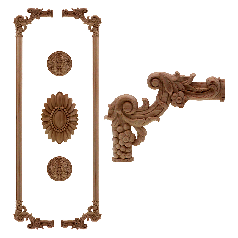 VZLX Natural Wood Appliques Flower Carving Decals Decorative Wooden Mouldings for Cabinet Door Furniture Decor Figurines