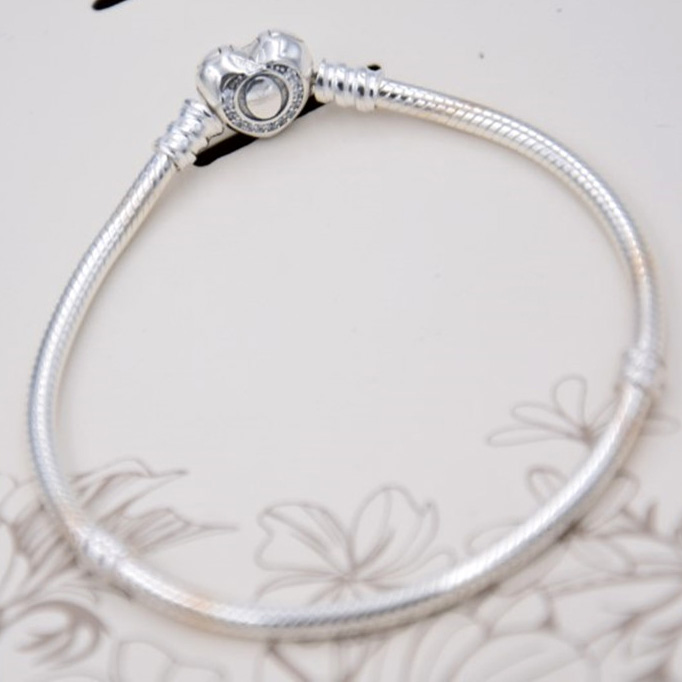 925 Sterling Silver Bracelet Bangle for Women Crystal Wishful Heart Snake Chain Beads fit Pandora DIY Jewelry