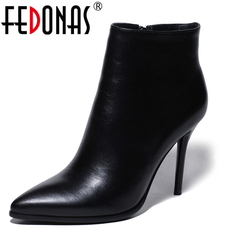 FEDONAS New Women Ankle Boots Classic Degisn Brand Genuine Leather Shoes Woman Sexy High Heels Pumps Short Snow Boots Women