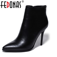 FEDONAS Black Red Women Ankle Boots Classic Degisn Brand Genuine Leather Shoes Platforms Sexy High Heels