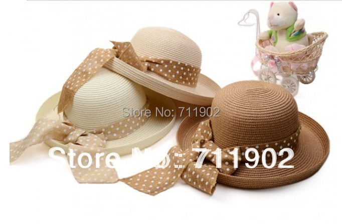 10pcs free shipping/Bow dot Hats / ribbon beach cap/ innovation natural environment-friendly papyrus production
