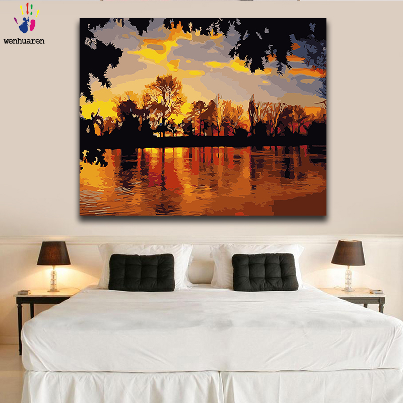 Diy paint by numbers pictures painting by numbers with kits Sunset scenery beautiful Living room decorative hanging pictures