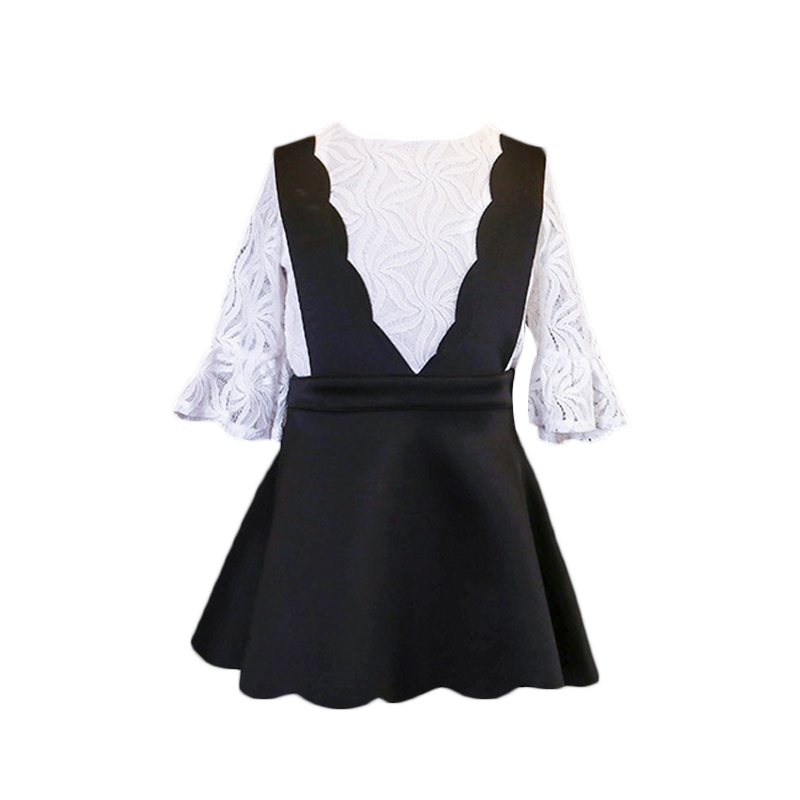 New Casual autumn Style Girls Clothing Set flare Sleeve White Lace shirt+Skirt for Kids toddler girls Clothes 2-7Y 2017 new style fashion mom and girls short sleeve letter t shirt dot black skirt set summer kids casual clothes parenting 17f222