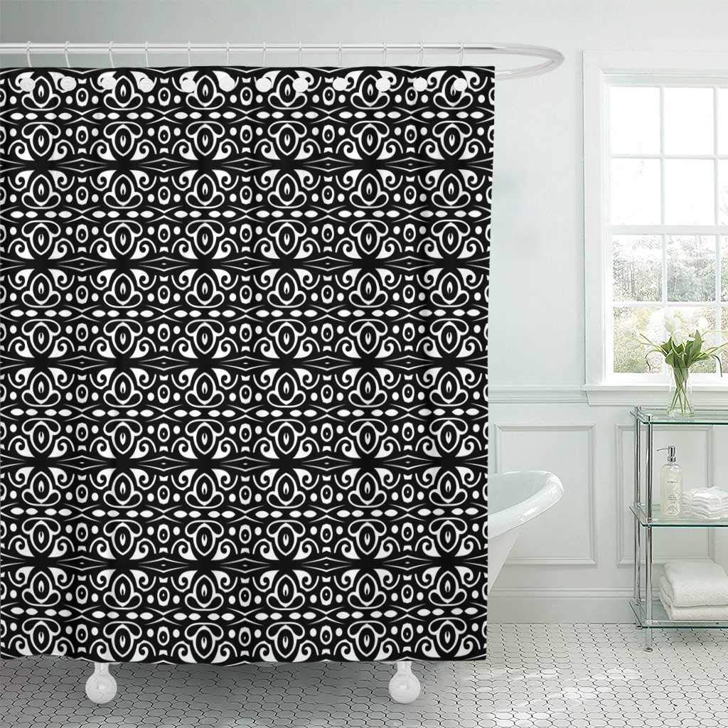 Fabric Shower Curtain With Hooks Abstract B W Tribal Pattern