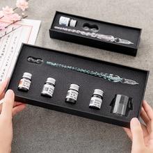 גביש זכוכית לטבול עט חתימת עט נובע עטים Bussiness משרדים כתיבה ספר מתנת סט עט + דיו סט