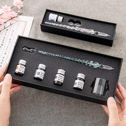 Cristal de vidro dip caneta assinatura caneta caneta canetas bussiness escritórios escola papelaria presente conjunto caneta + tinta conjunto
