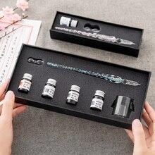 Di Vetro di cristallo Dip Penna Penna Firma Penna Stilografica Penne Bussiness Uffici Scuola Dono di Cancelleria Set Penna + Set di Inchiostri