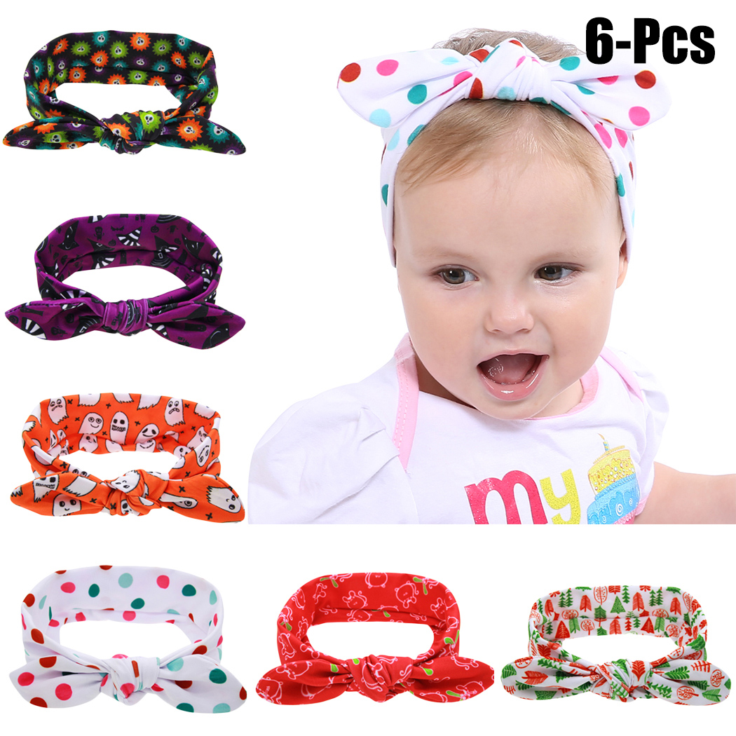 6PCS BabyS Hairband Halloween Cloth Knot Baby Headband Infant Headwrap For Toddler Girl