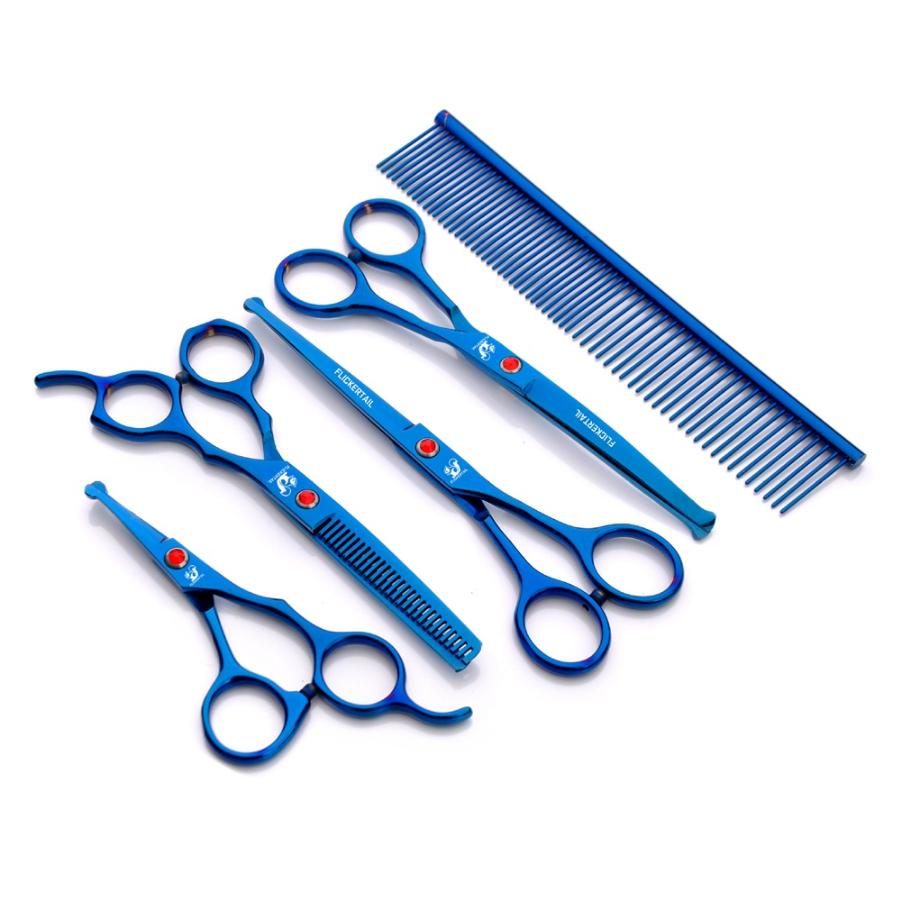 Stainless Steel 5 Pcs Professional Pet Scissors Comb Kit Sharp Edge Dog Cat Grooming With Storage Bag Hot Sale
