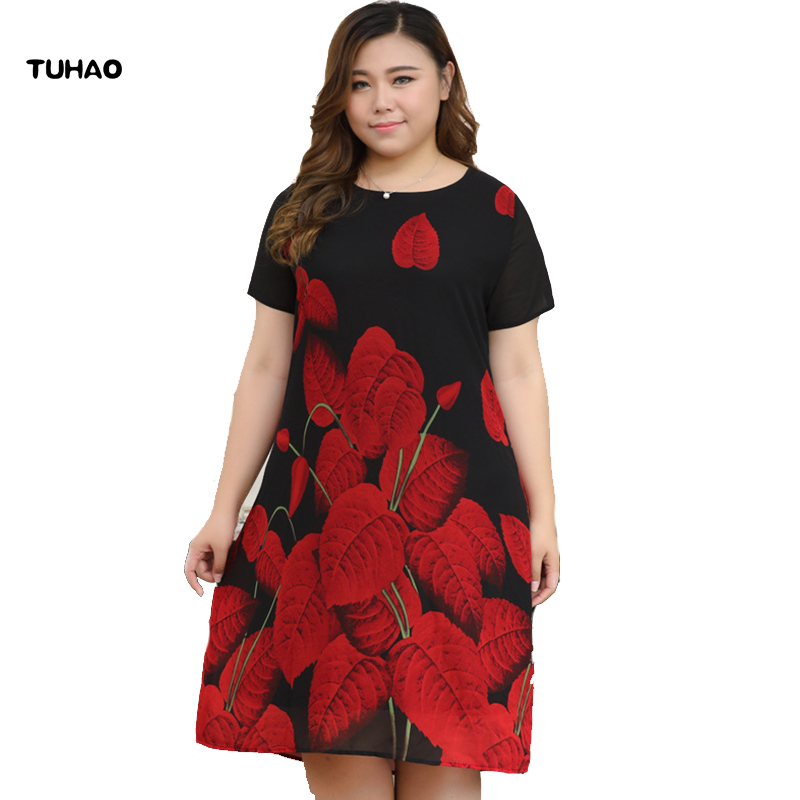 TUHAO Plus Size 10XL 8XL 6XL Vintage Office Lady Dresses Middle Age Mother Dress 2018 Summer