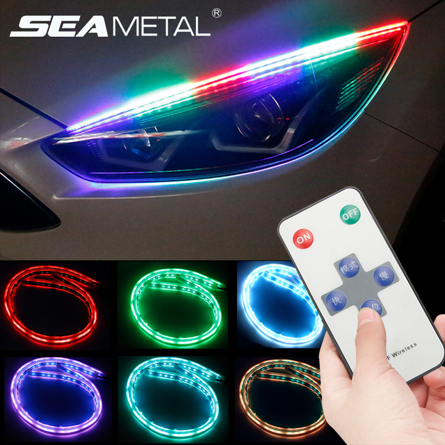 12V Car Led DRL Daytime Running Lights RGB LED Strip Lamp Headlight Flowing Turn Yellow Signal Flexible Universal For Cars