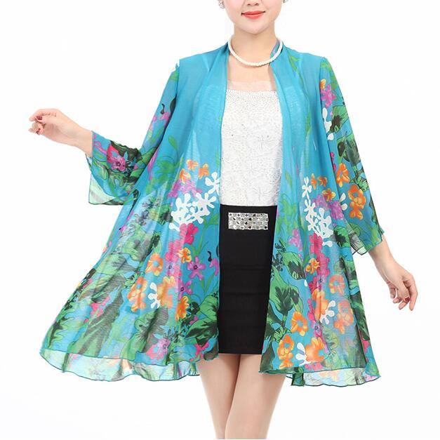 New middle age font b Women b font chiffon sunscreen clothing fashion print loose long sleeve