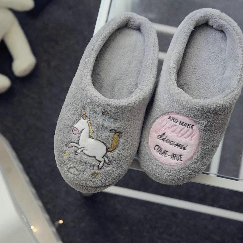 2017 New arrived fashion winter cartoon cute unicorn women slippers indoor floor for bedroom house Non-slip adult shoes new winter soft plush cotton cute slippers shoes non slip floor indoor house home furry slippers women shoes for bedroom z131
