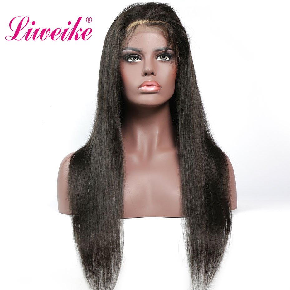 Liweike Straight Full Lace Front Wigs Brazilian Silky Remy 100 Human Hair Natural 1B Color Glueless