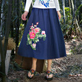 Large Size Fashion Spring Fall Women Cotton Linen Long Skirts Art Style Elastic Waist Casual Pleated Skirt Ethnic Style