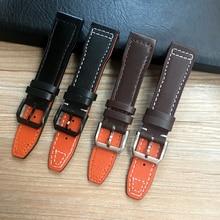 Pulseira de relógio masculina, pulseira de relógio de 20mm 21mm 22mm marrom preto para iwc pilot mark xviii › iw377714 pulseira de couro genuíno