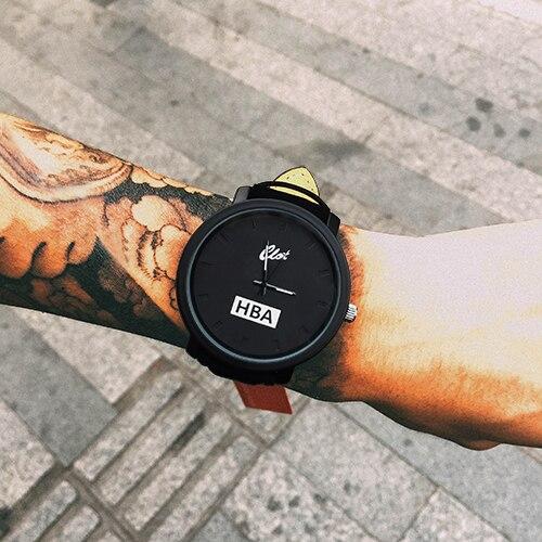 Fashion Brand HBA Leather Strap Unisex Watches Men Quartz Women Dress Watch Sports Military Relojes Geneva
