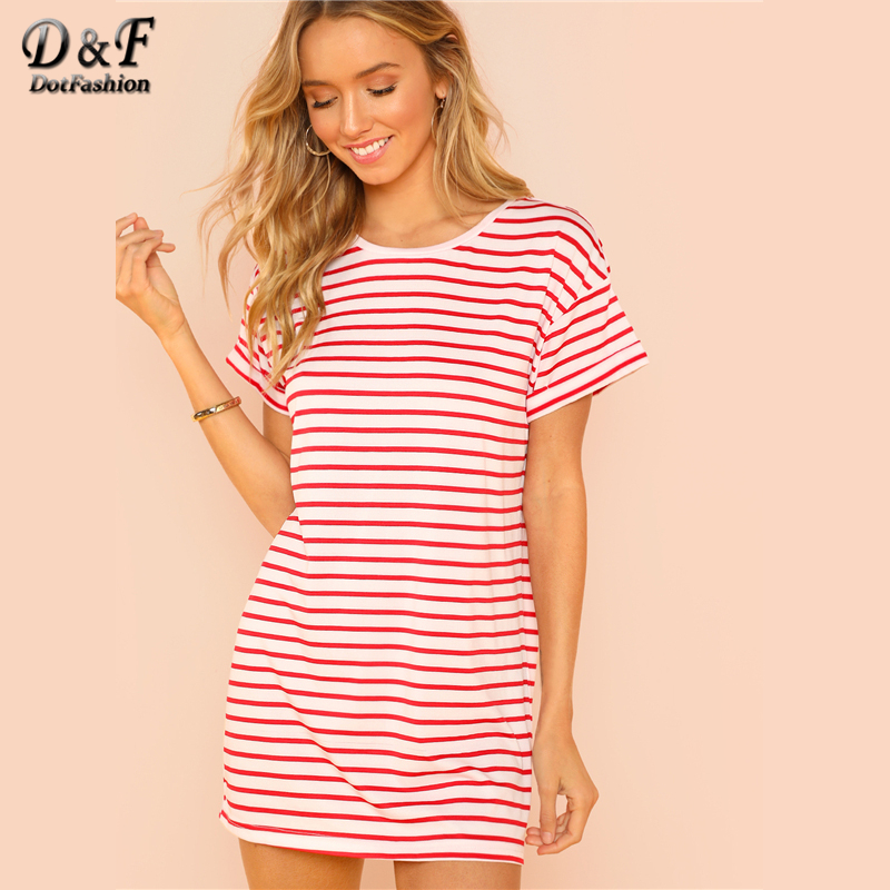 260a9f25ce2 Dotfashion Flounce Sleeve Striped Tee Dress Ladies 2019 Summer Round Neck  Short Sleeve Girls Casual Straight