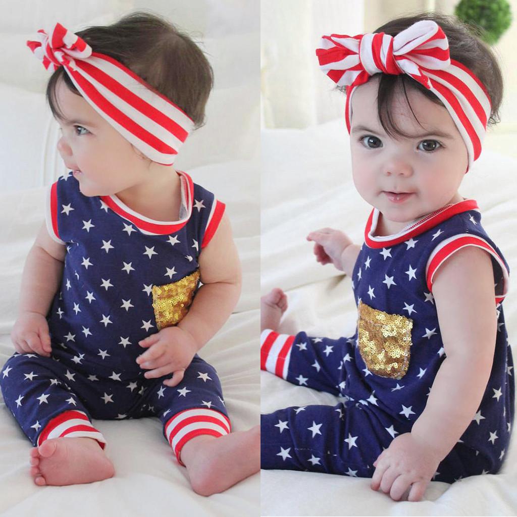4th of July Newborn Infant Baby Girls Romper Bodysuit Jumpsuit Clothes Outfits