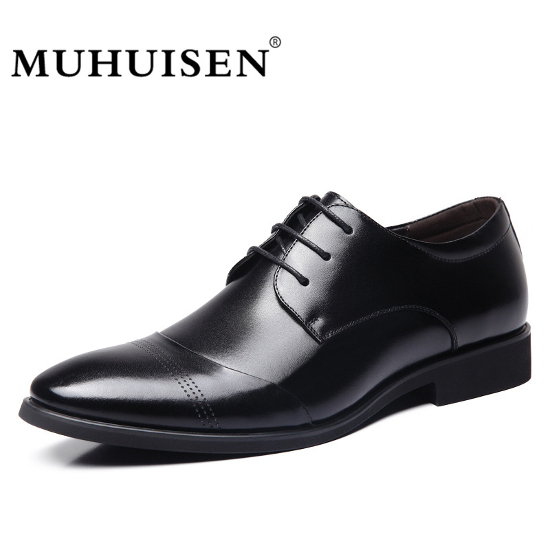 MUHUISEN Brand Men Dress Shoes Fashion Soft Leather Lace Up Flat Male Oxford Shoes Party Office Wedding Shoes