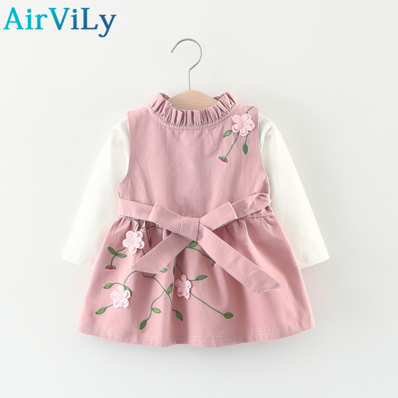 2017 Girls Clothing Sets Autumn New Flowers Bow Vest Dress+Solid Color T-Shirt 2Pcs Baby Girl Clothes Cute Kids Clothing Outfits johnson mc j5600