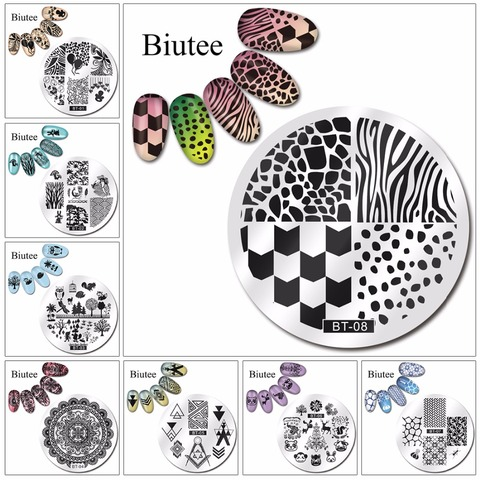 Biutee 1pc 20 Designs Nail Stamp Plate Classical Stripes Leaves Flowers Animals Star Musical Instruments Nail Template Pakistan