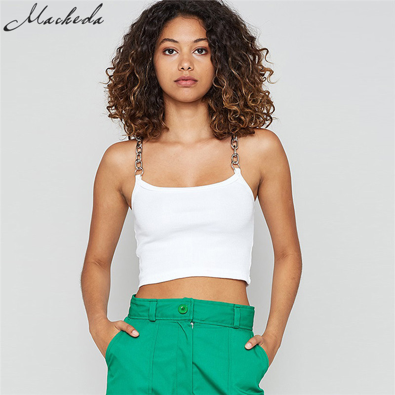 Macheda 2018 New Summer Chain Sling   Tank     Top   Women Sleeveless Solid Crop   Top   Casual Fashion Camisole Street Short   Tops   Tees