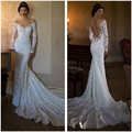 V Neck Long Sleeves Backless Sexy Vintage Mermaid Long Train Bridal Gowns 2016 Fascinating White Lace Wedding Dresses 1150