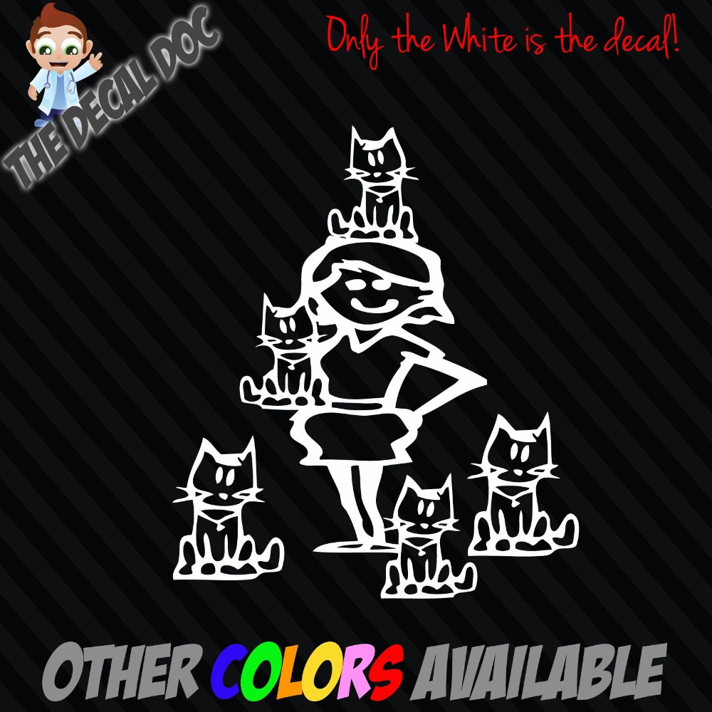 "CRAZY CAT LADY cats Funny Stick Figure Family Car Vinyl Decal Sticker 5"" Window"